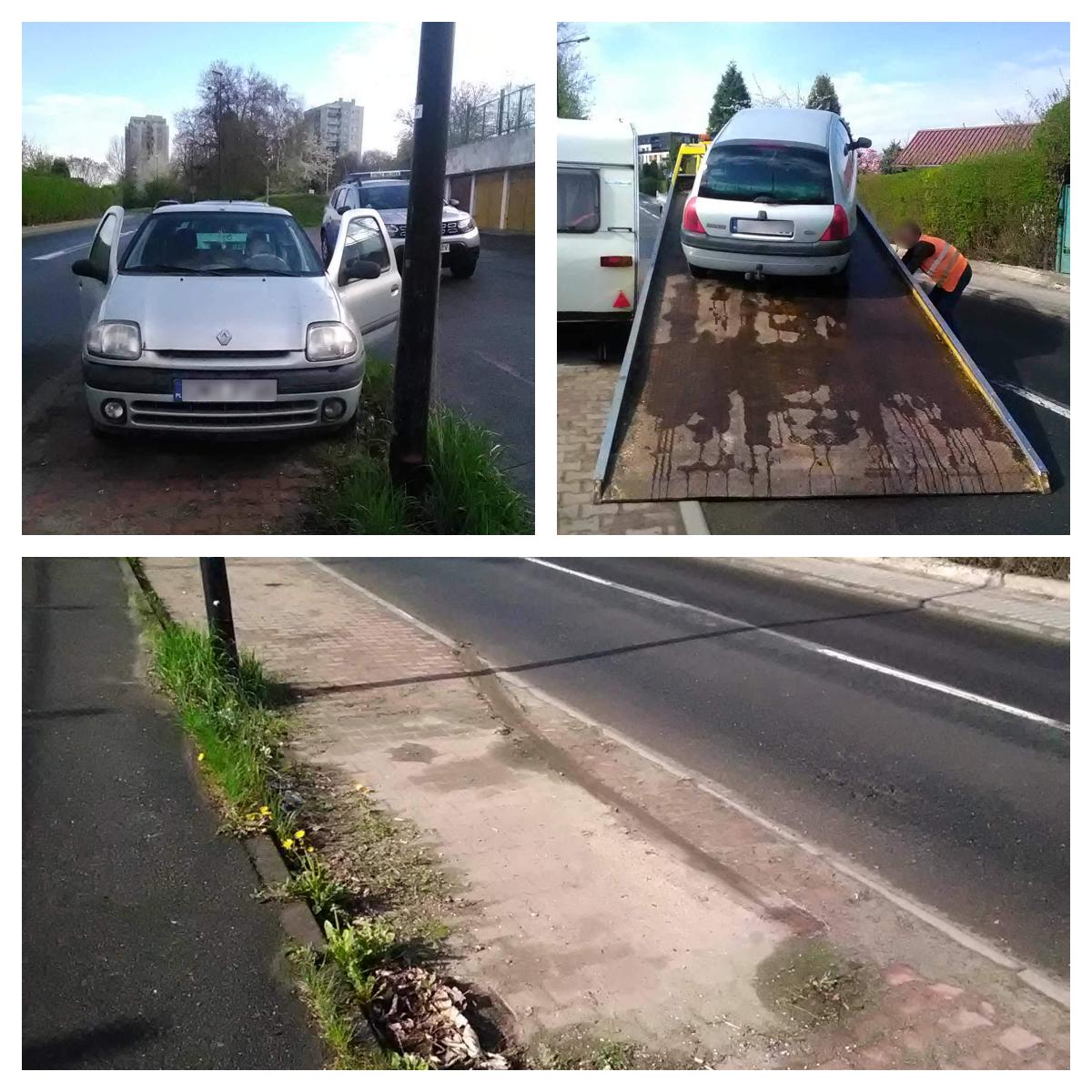 Usunięte Renault z ulicy Pliszki (dzielnica Sikornik)